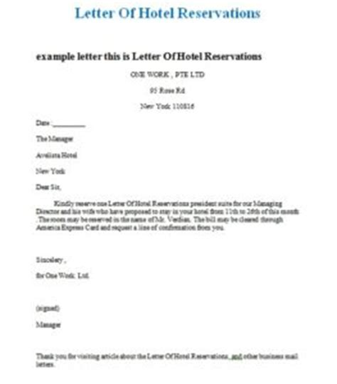 Reservation Letter At Hotel Hotel Reservation Email Template Sles Business Letters