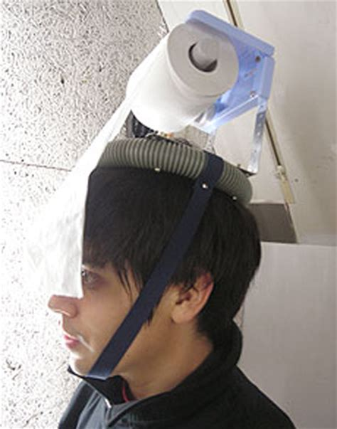 toilet paper on head invention chindogu weird and useless japanese inventions