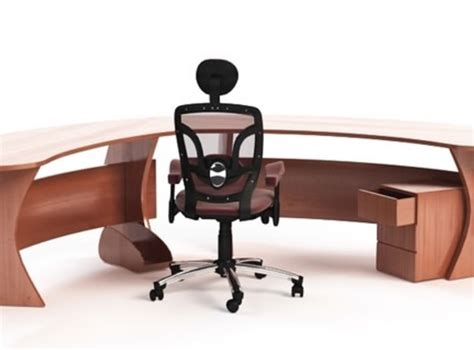 Curved Office Desk Furniture Curved Office Desk With Chair 3d Model 3ds C4d Cgtrader