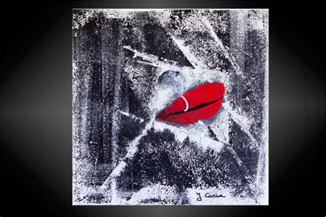 Bien Peinture Pour Agrandir Une Piece #5: Tableau-moderne-la-bouche-gris-rouge.jpg