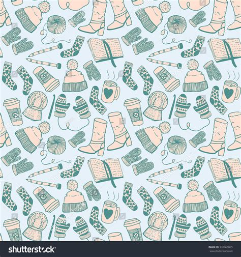 winter vintage pattern wallpaper vector seamless hand drawn doodle sketch seamless pattern winter fashion