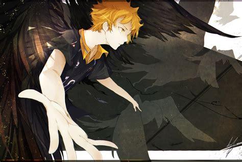 wallpaper haikyuu hinata shouyou dark wings orange hair