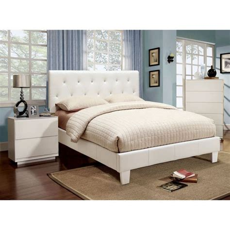 Provence White Bedroom Furniture by Furniture Of America Mircella 2 White Leatherette