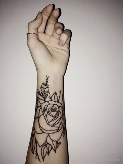 rose bracelet tattoo flower on wrist designs pictures