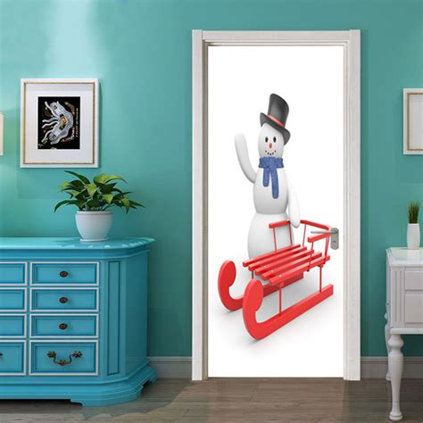 posters for bedroom doors dsu christmas snowman and sleigh wall sticker mural