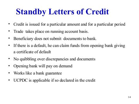 Bank Standby Letter Of Credit Letter Of Credit