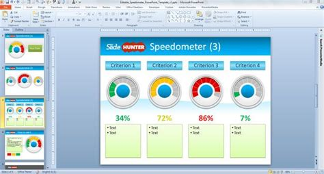 Editable Speedometer Powerpoint Template Powerpoint Dashboard Exles