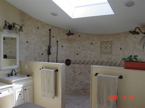 open shower design traditional bathroom other metro