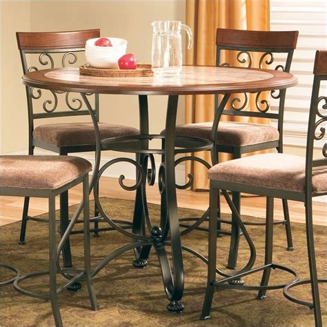 buy thompson casual dining room set by steve silver from buy thompson round counter height dining table by steve
