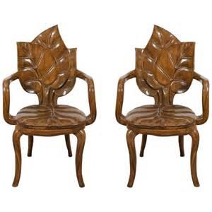 Art Chairs Art Nouveau Style Pair Of Sculptural Leaf Motif Armchairs