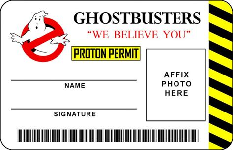 ghostbusters id card template props replica props ghostbusters