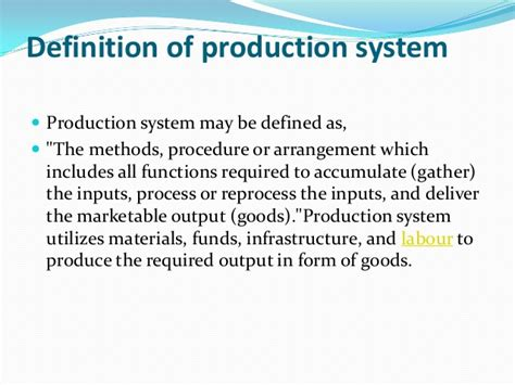 Produce Definition | production production system