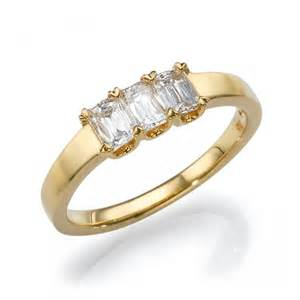 Wedding 3 stone diamond ring unique engagement ring 18k gold ring