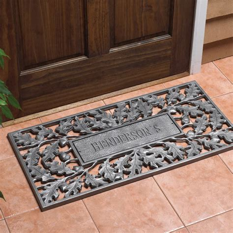 rubber st and engraving oak acorn personalized door mat traditional home