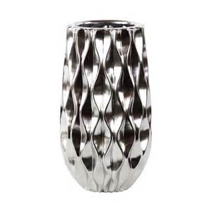 trends 11411 chrome silver ceramic vase with