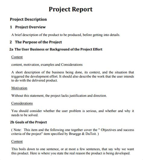 layout project report format sle project report template 10 documents in pdf