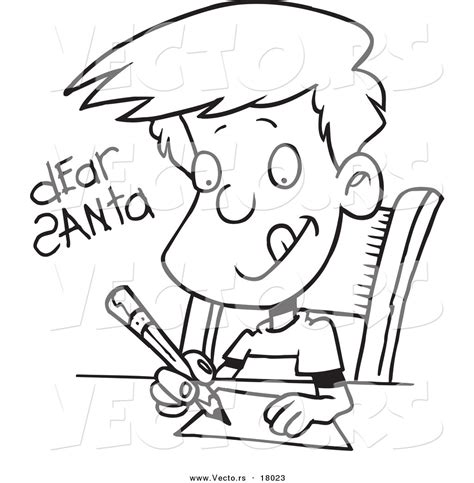 boy writing coloring page person writing a letter clipart 25