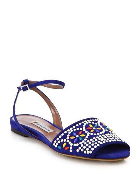 beaded flat sandals simmons beaded flat suede sandals in blue blue