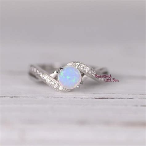 womens sterling silver white opal ring silver opal ring