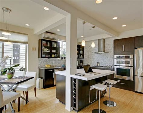 modern kitchen dining open plan with pillars and breakfast support beam at center edge of island kitchen islands