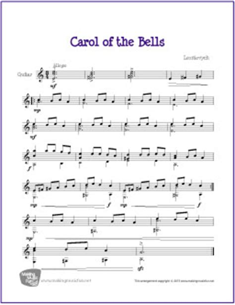 carol of the bell carol of the bells free easy guitar sheet music