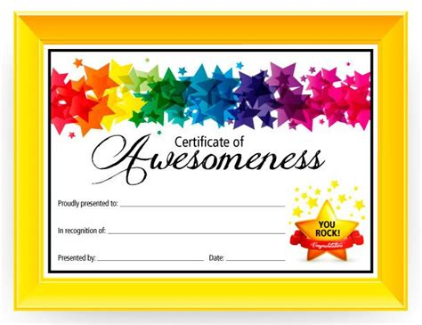 children s certificate template certificate of awesomeness graduation kid and my name