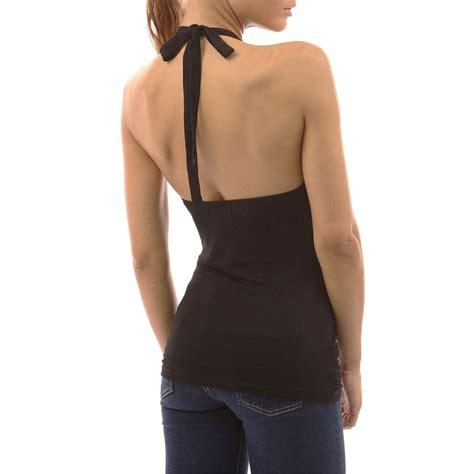 Blouse Tank Top womens open back key halter blouse shirt tank top evening cocktail top new
