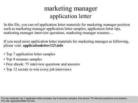 Application Letter Marketing Manager Marketing Manager Application Letter
