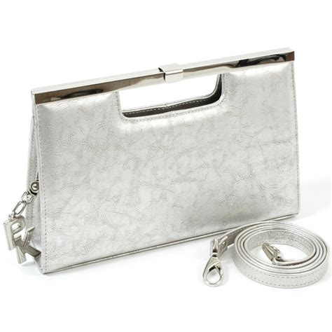 140 Clutch Silver kaiser wye silver metallic leather clutch