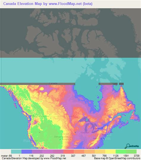 elevation map of usa and canada canada elevation and elevation maps of cities topographic