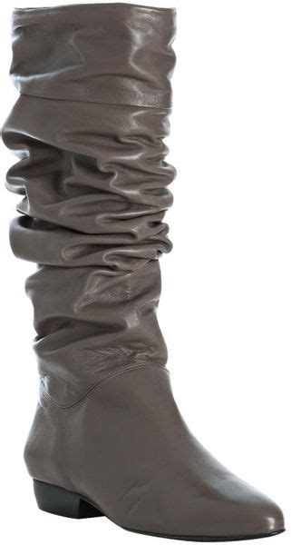 pour la victoire grey leather malorie flat boots in gray