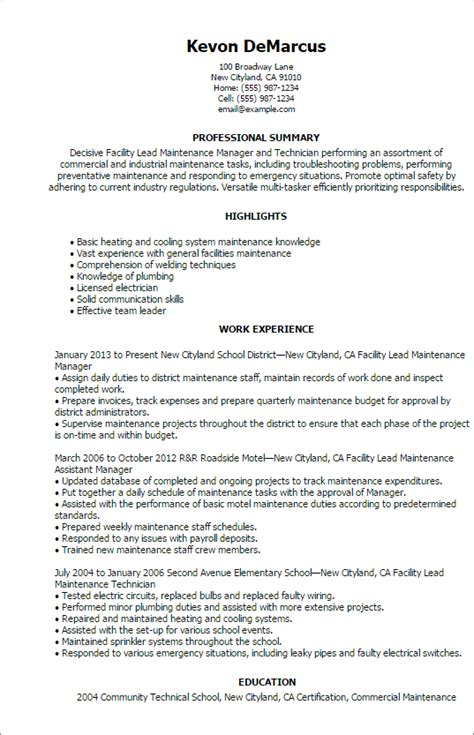 Facilities Maintenance Manager Sle Resume by 1 Facility Lead Maintenance Resume Templates Try Them Now Myperfectresume