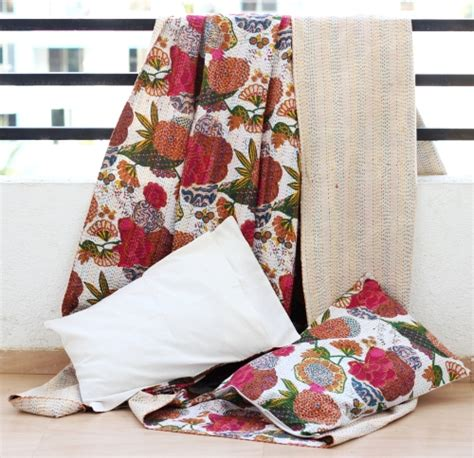 Cheap Quilted Throws by Wholesale Handmade Kantha Throw