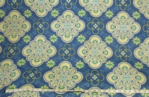 green home decor fabric blue green white medallion tile print outdoor 54 quot home