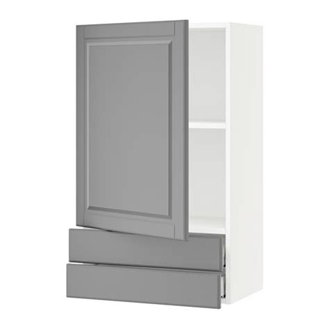 sektion wall cabinet with door 2 drawers white bodbyn