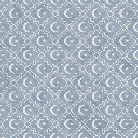 tile pattern repeat pale blue and white star and crescent symbol tile pattern