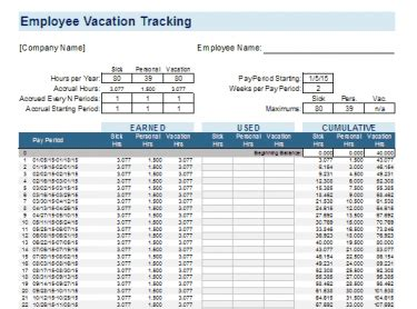 Employee Vacation Tracking Template Meylah Vacation And Sick Time Tracking Excel Template