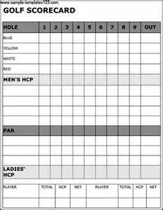 golf scorecard template golf scorecard template sle templates