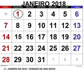 Calendario 2018 Brasil Feriados Calend 193 Janeiro 2018 Feriados Para Imprimir