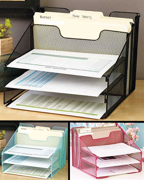 paper desk organizer black mesh stackable paper tray in