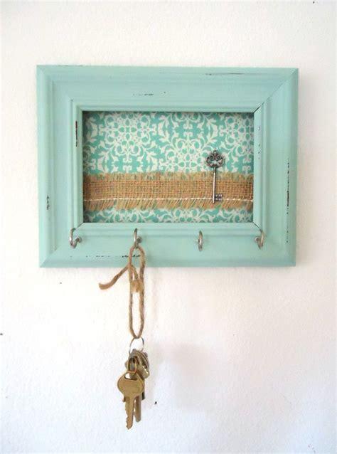 key holder wall hook shabby chic frame home decor organization tiffany blue 5 silver hooks