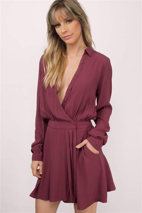 Wrap Dress - wine wrap dress button up dress wine dress wrap