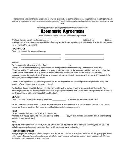 roommate lease template roommate agreement template cyberuse