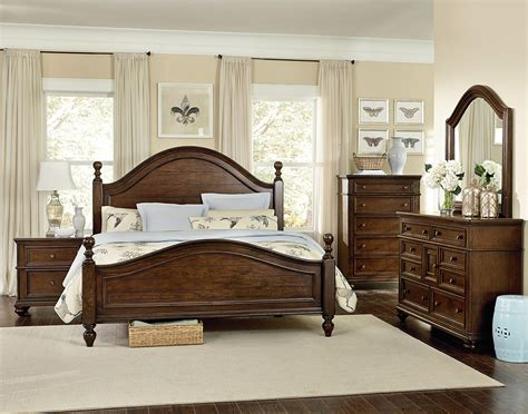 king post bedroom set heritage king poster bed with curved headboard and