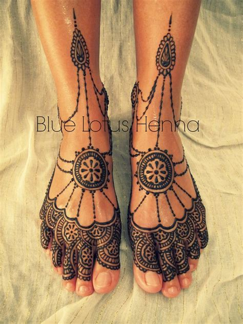 blue henna tattoo front view mehindi lotus henna blue lotus