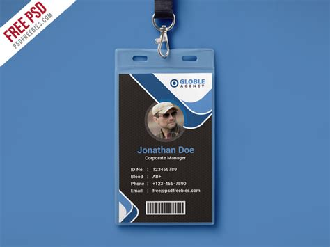 blue id card template multipurpose office id card free psd template