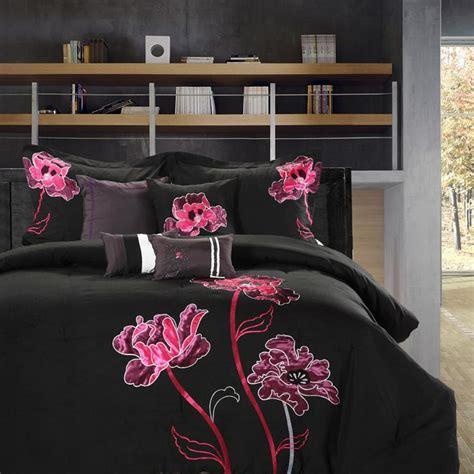 Black And Pink Bed Sets Orchid Black Pink Plum 8 King Comforter Bed In A Bag Set New Ebay