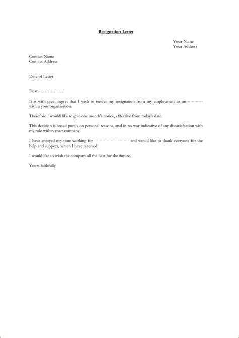 Resignation Letter For Personal Reasons Notice 6 1 Month Notice Resignation Letter Sle Basic