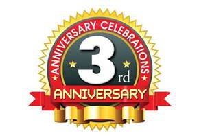 3rd anniversary logo template with red ribbon naveengfx