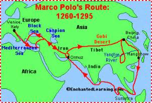 Marco Polo Route Map by Marco Polo Explorer Printable Enchantedlearning Com
